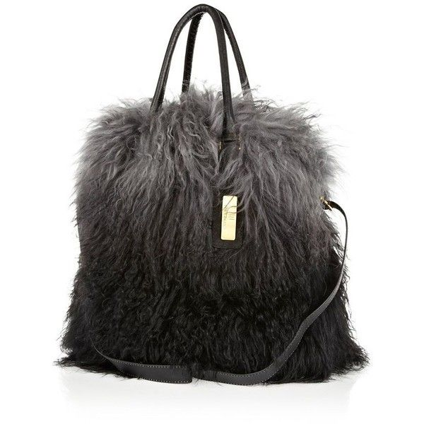 b44a4fcc1f River Island Grey ombre Mongolian fur tote bag ( 110) ❤ liked on Polyvore  featuring bags