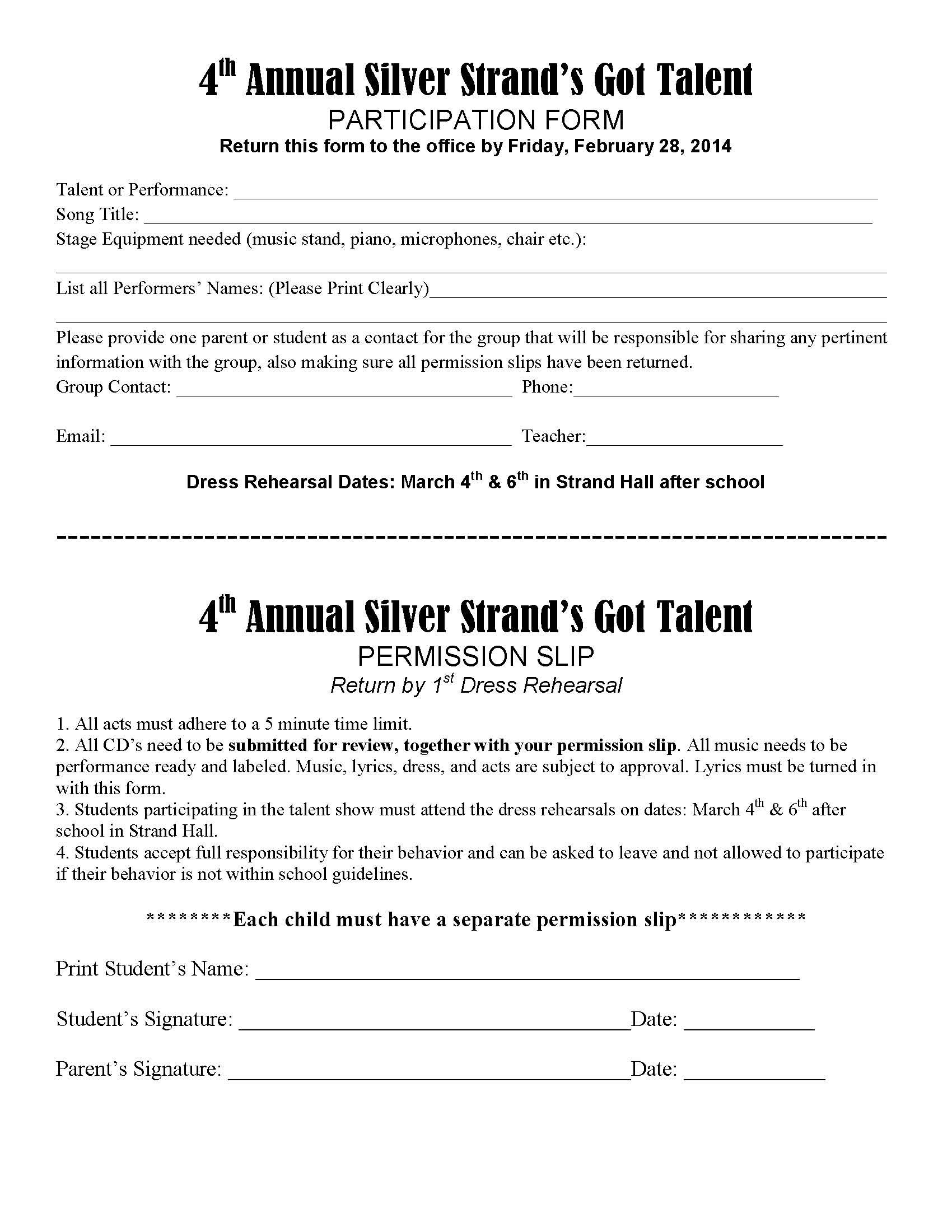Silver Strand Elementary Talent Show Permission Slip