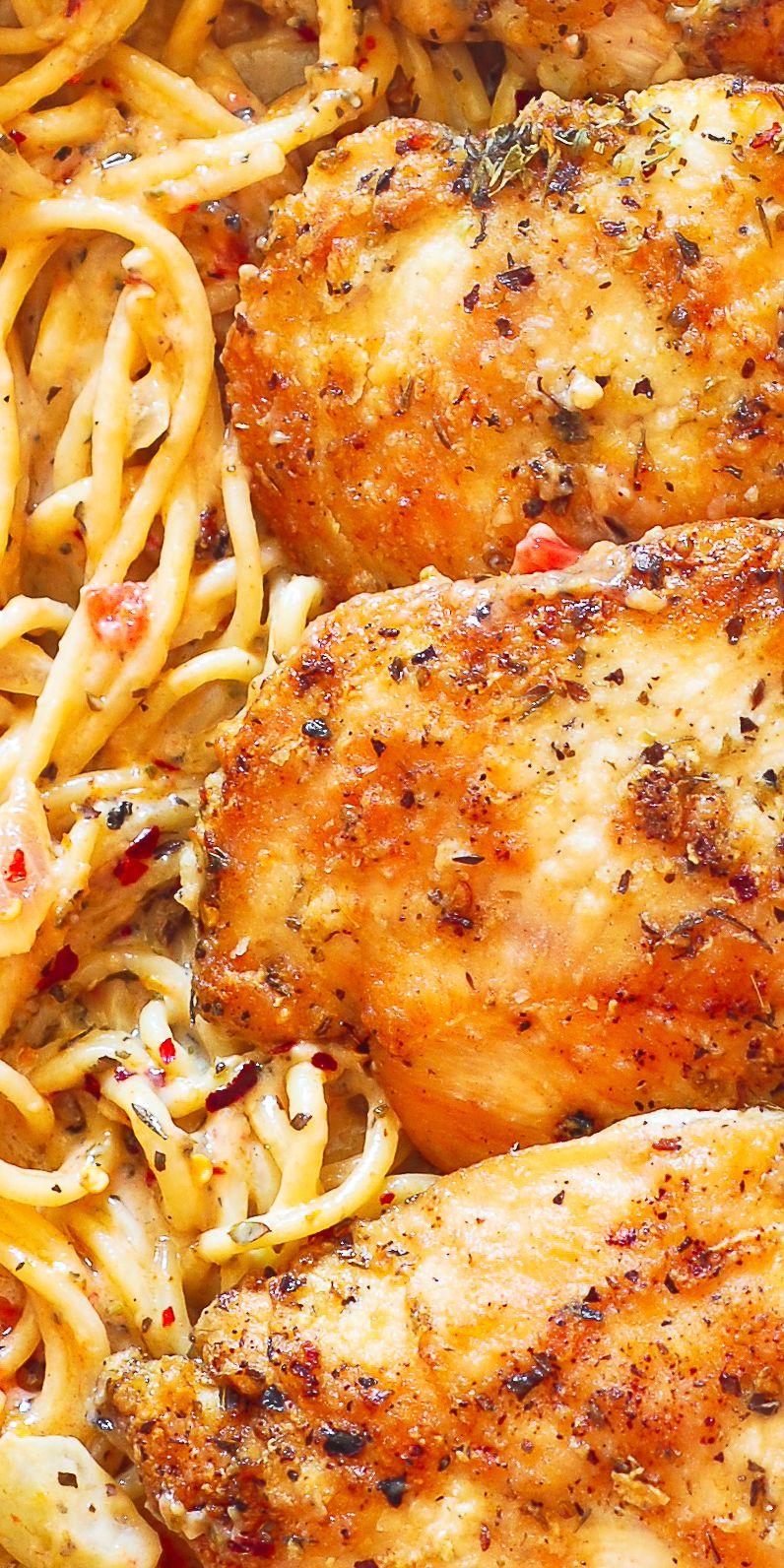 Chicken Pasta in Creamy White Wine Parmesan Cheese