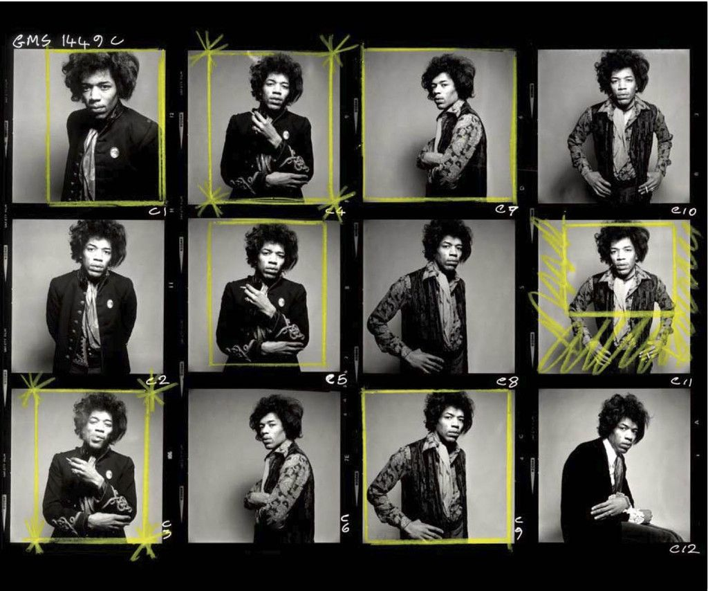 Jimi Hendricks - Planche contact data de 1967 par Gered Mankowitz / Format 6x6 / 12 Vues