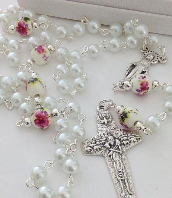 White Pearl Rosary Baptism Gift Good Shepherd Crucifix First Communion Catholic Bridal Birthday For Her