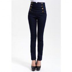 Double-Breasted Embellished Women's Casual High-Waisted Narrow Feet Skinny Jeans