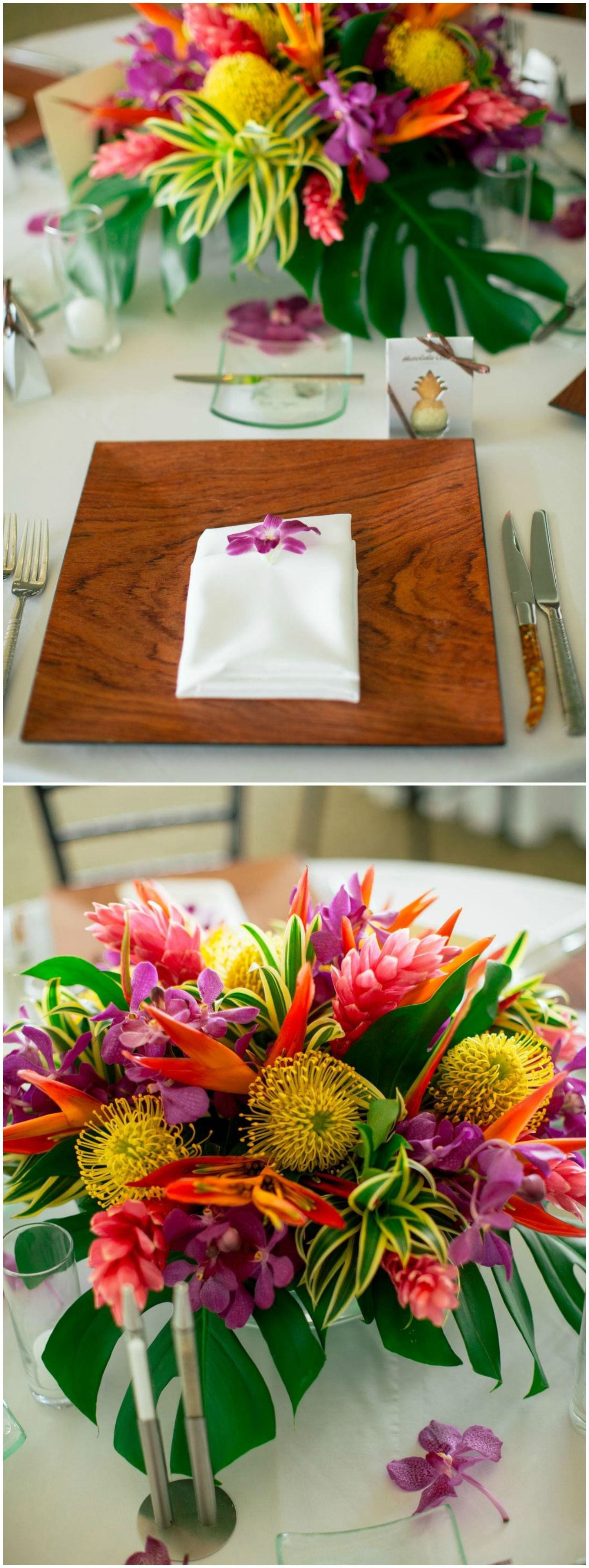 Hawaii wedding, wooden plate, tropical flowers, place