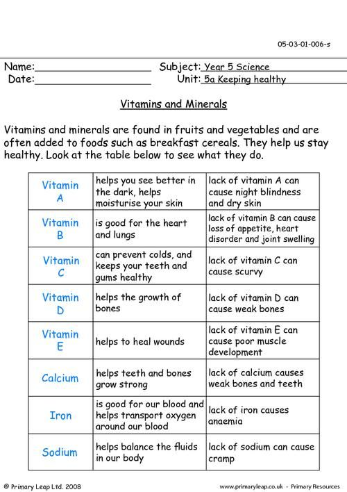 PrimaryLeapcouk Vitamins and minerals Worksheet – Minerals Worksheet