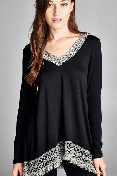 The fringe bottom tunic in black
