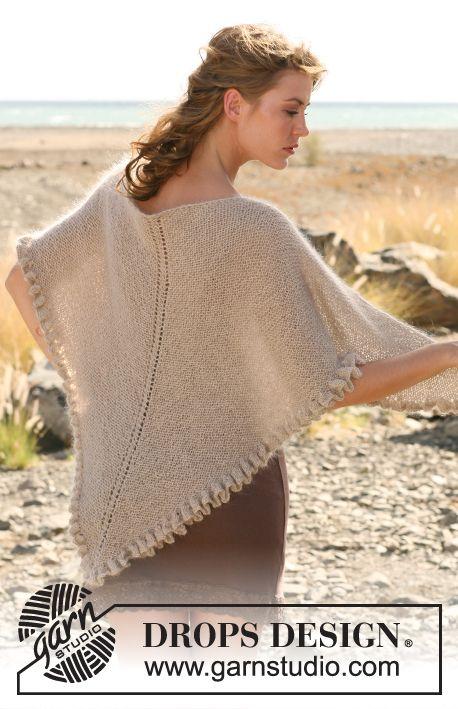 Alpaca Opskrifter strikket drops sjal med retstrik og flæsekant i alpaca og kid-silk