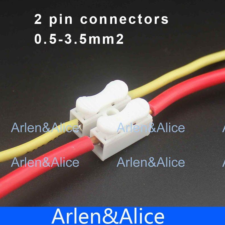 100 Unids 2 pin empuje rápido cable conector Terminal de Cableado de - Couleur Des Fils Electrique