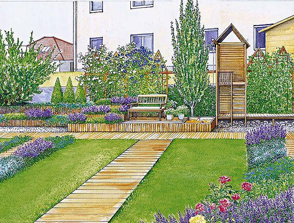 Sichtschutz für einen kurzen, breiten Garten Schöne gärten - garten gestalten vorher nachher