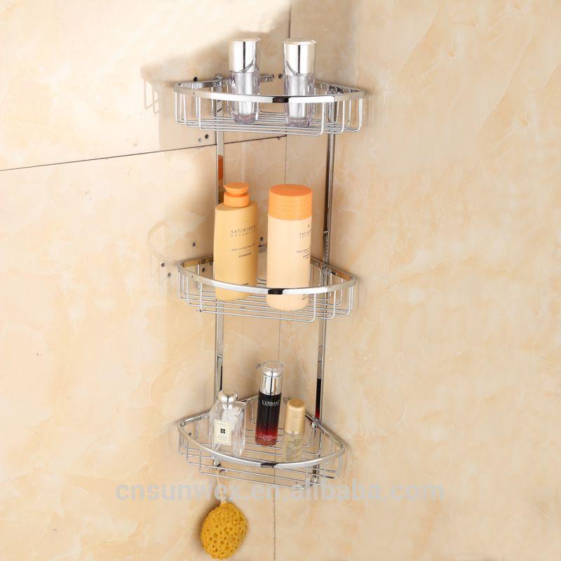 Triple Tiers Brass Bathroom Corner Shelves Bathroom Storage Basket Unique Baskets For Corner Shelves