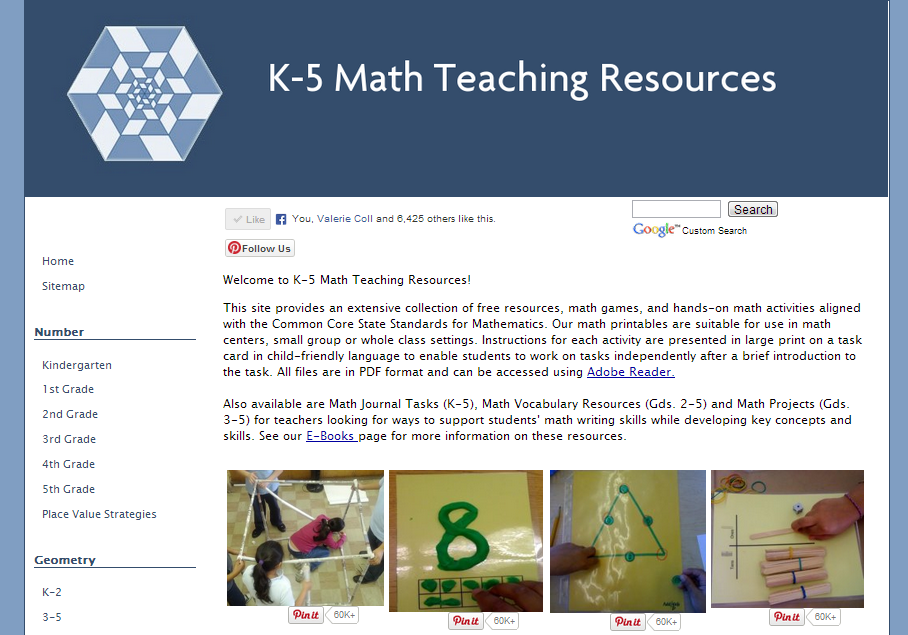 K-5 Math Teaching Resources - terrific website with loads of free ...