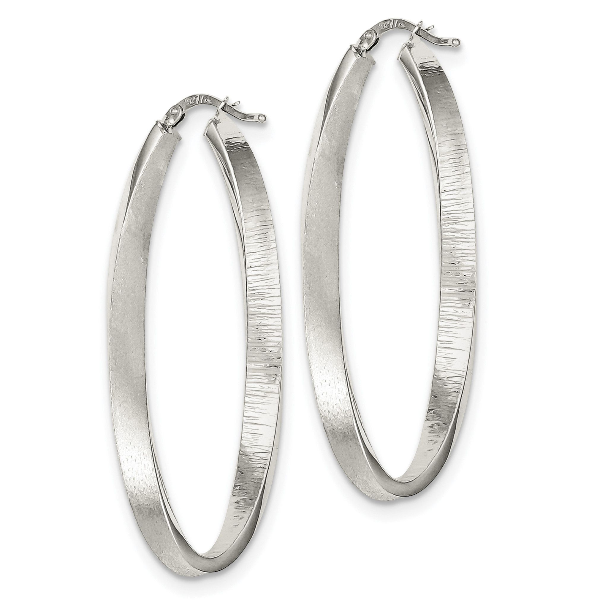 Sterling Silver Brushed & Textured Hollow Oval Hoop Earrings