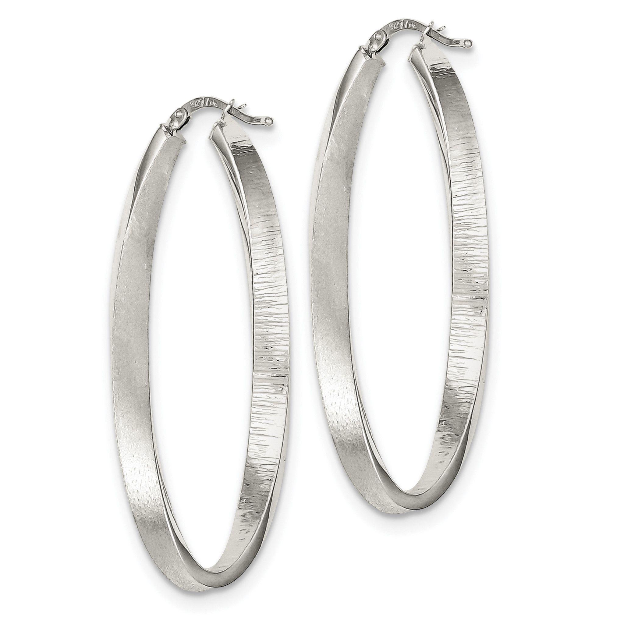 Sterling Silver Brushed & Textured Hollow Oval Hoop Earrings