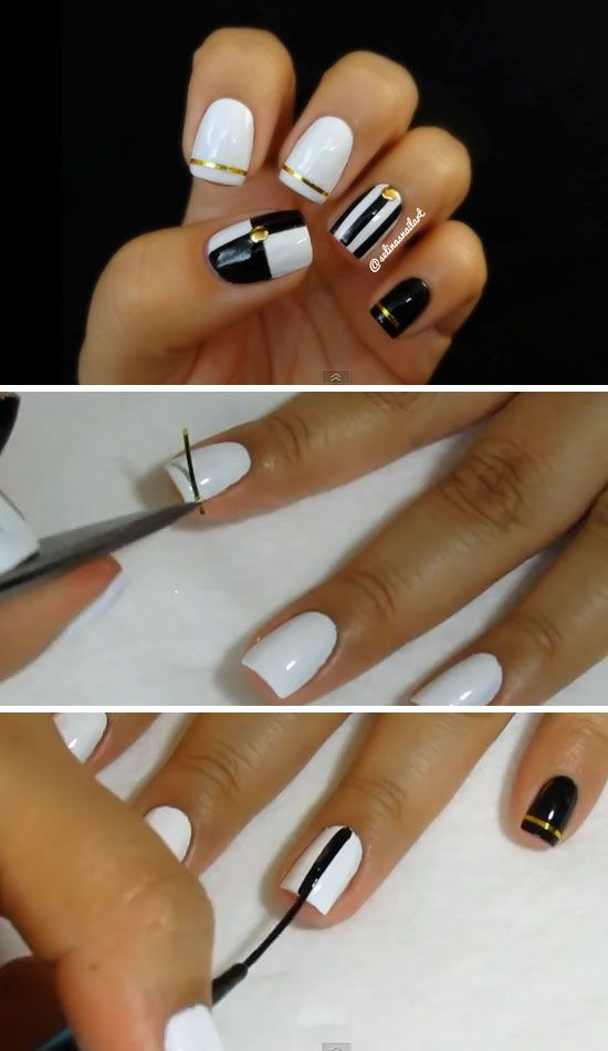 Black white nail art nail art tape 22 easy nail art designs 24 easy nail art designs for short nails prinsesfo Choice Image