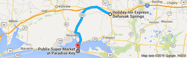 Map from Holiday Inn Express Defuniak Springs, 326 Coy Burgess Loop ...
