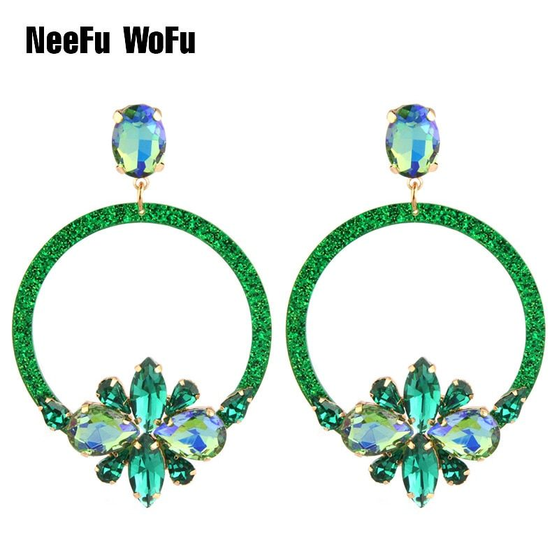 NeeFu WoFu Drop Resin Earrings Brand Crystal Big Earring Flowers Large Long Brinco  Ear Accessories Oorbellen Christmas Gift 02a7b288b6e8