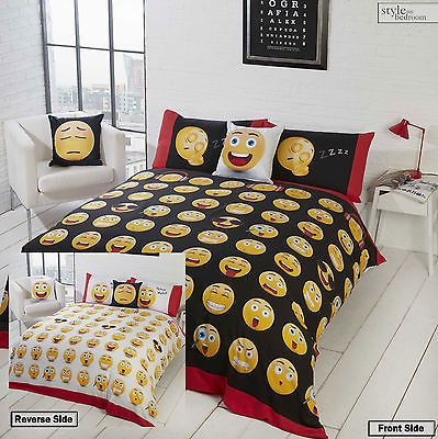 2 Sided Smiley Face Emotion Emoji Icons Reversible Duvet Quilt Cover  Bedding Set