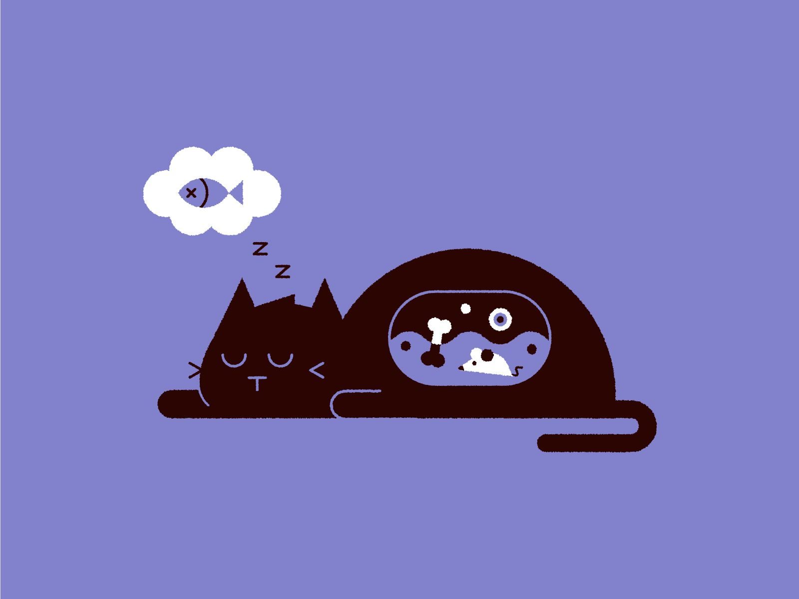 Exhausted Vectober Fish Illustration Cat Illustration Infant Activities
