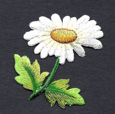 Daisy Flowers in Yellow,Purple or Green Iron On Appliques x 10