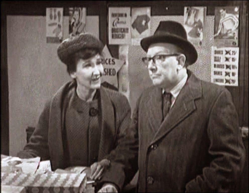 Eileen Derbyshire as Emily Nugent and Arthur Lowe as Leonard Swindley in Coronation Street.  1965