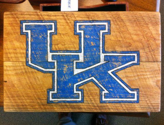 University Of Kentucky Wildcats Distressed Logo On Wood