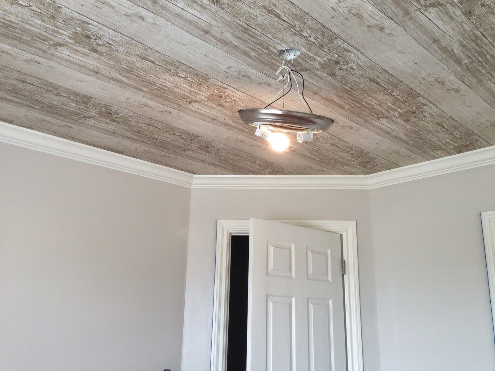 Painted Wood Ceilings Neutral Masculine Nursery Week 2 Wallpapering The Ceiling