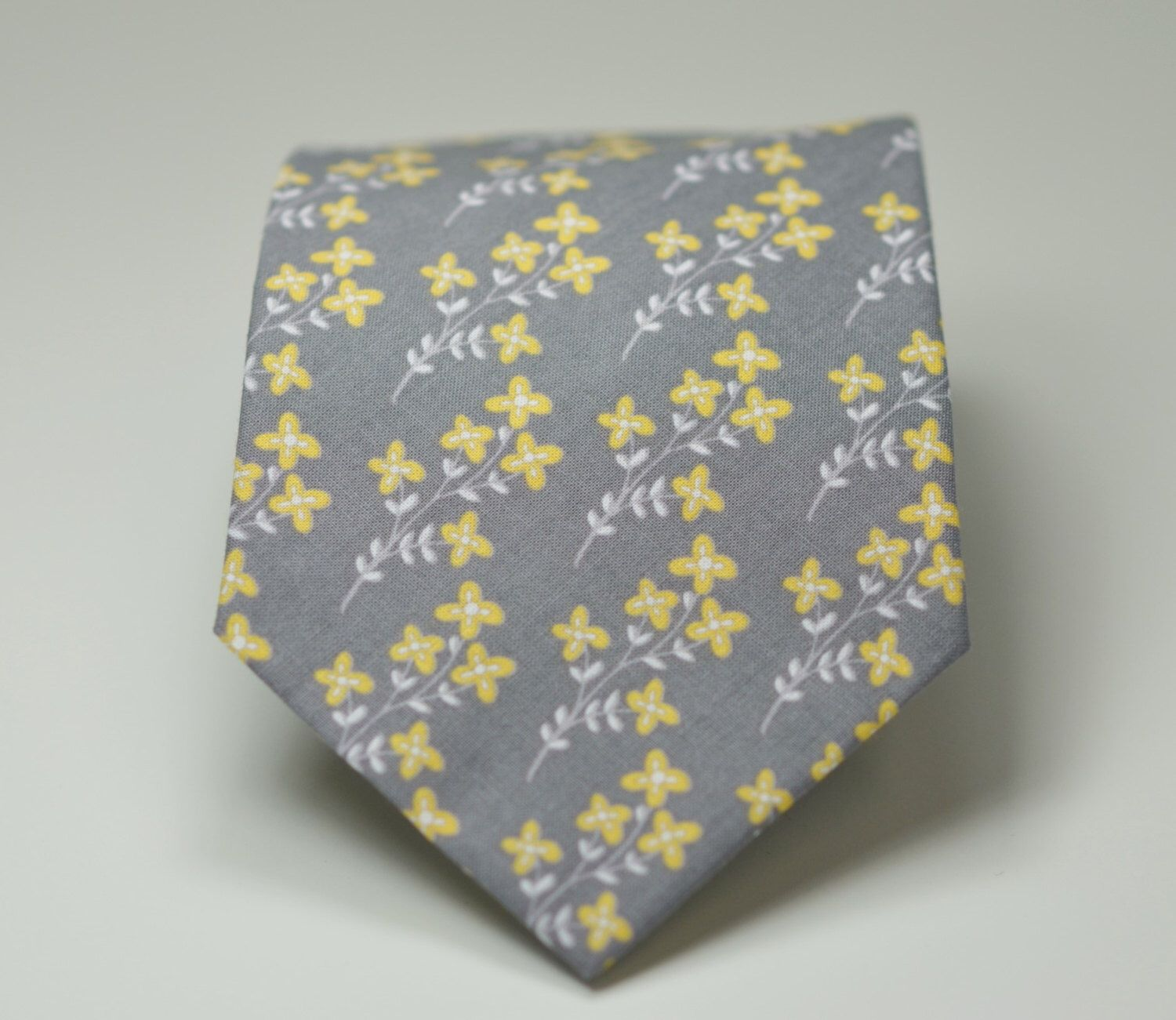 Necktie  Yellow And Gray Floral Tie, Mens Necktie, Skinny