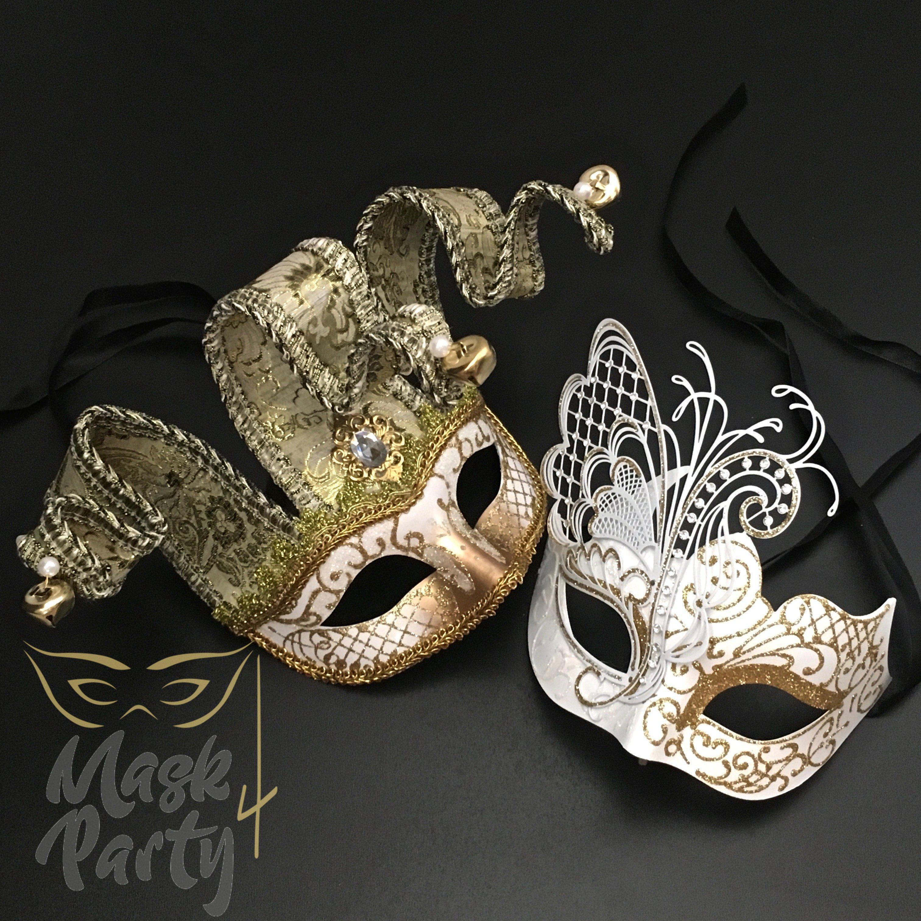 Black Gold Venetian Jolly Jester Mardi Gras Mask Halloween Masquerade Costume