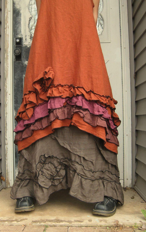 Rust Linen Ruffle and Swirl Dress L. $149.00, via Etsy.