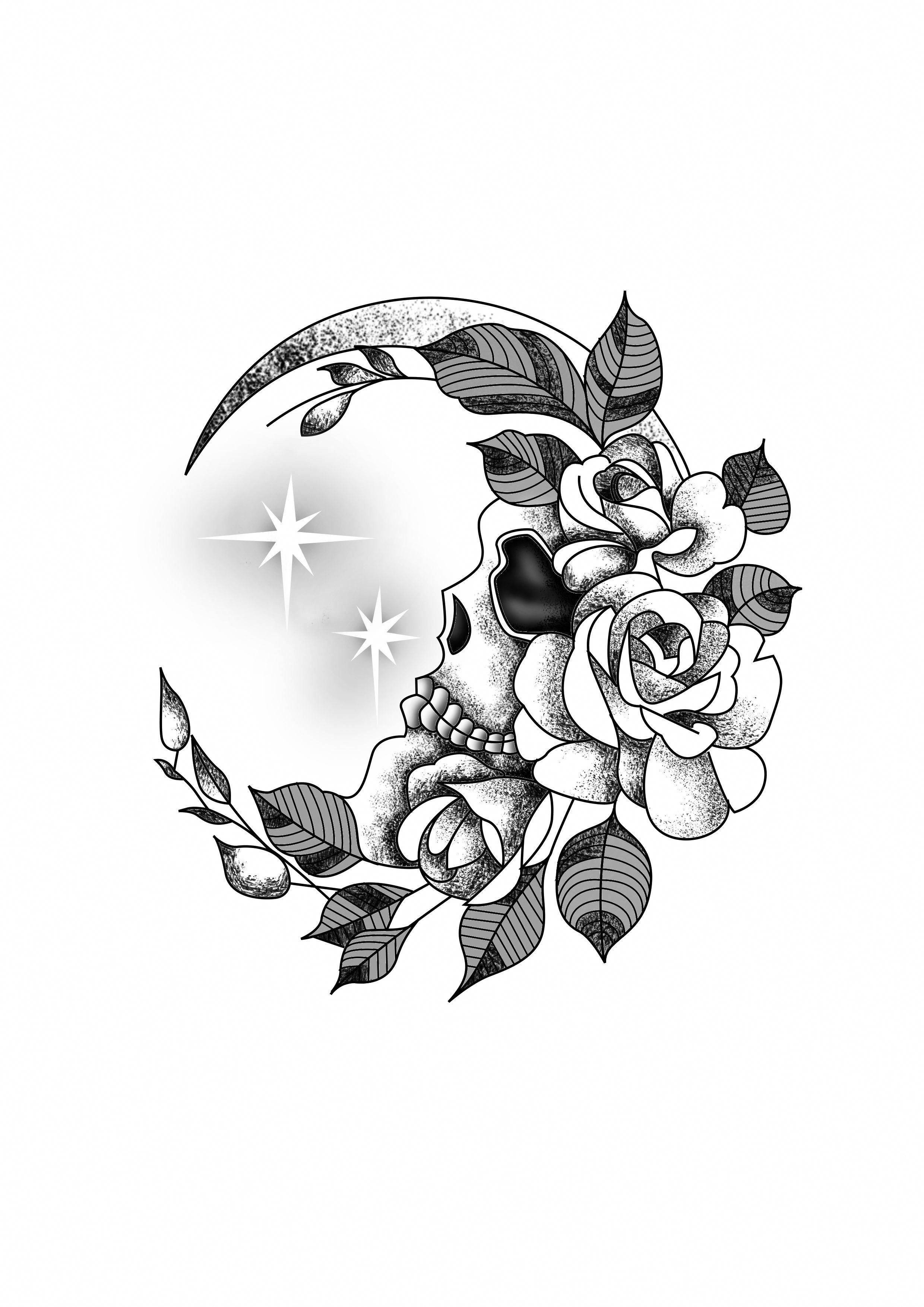 Flower Crescent Moon Skull Wrist Tattoo Design Black & White. Designer: Andrija Protic #tattoodesigns #caveiratattoo