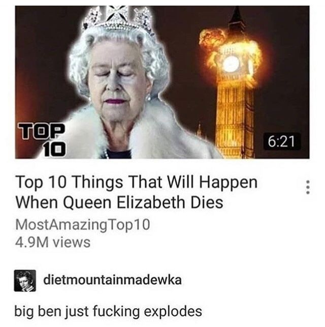 Top 10 Things That Will Happen When Queen Elizabeth Dies Funny