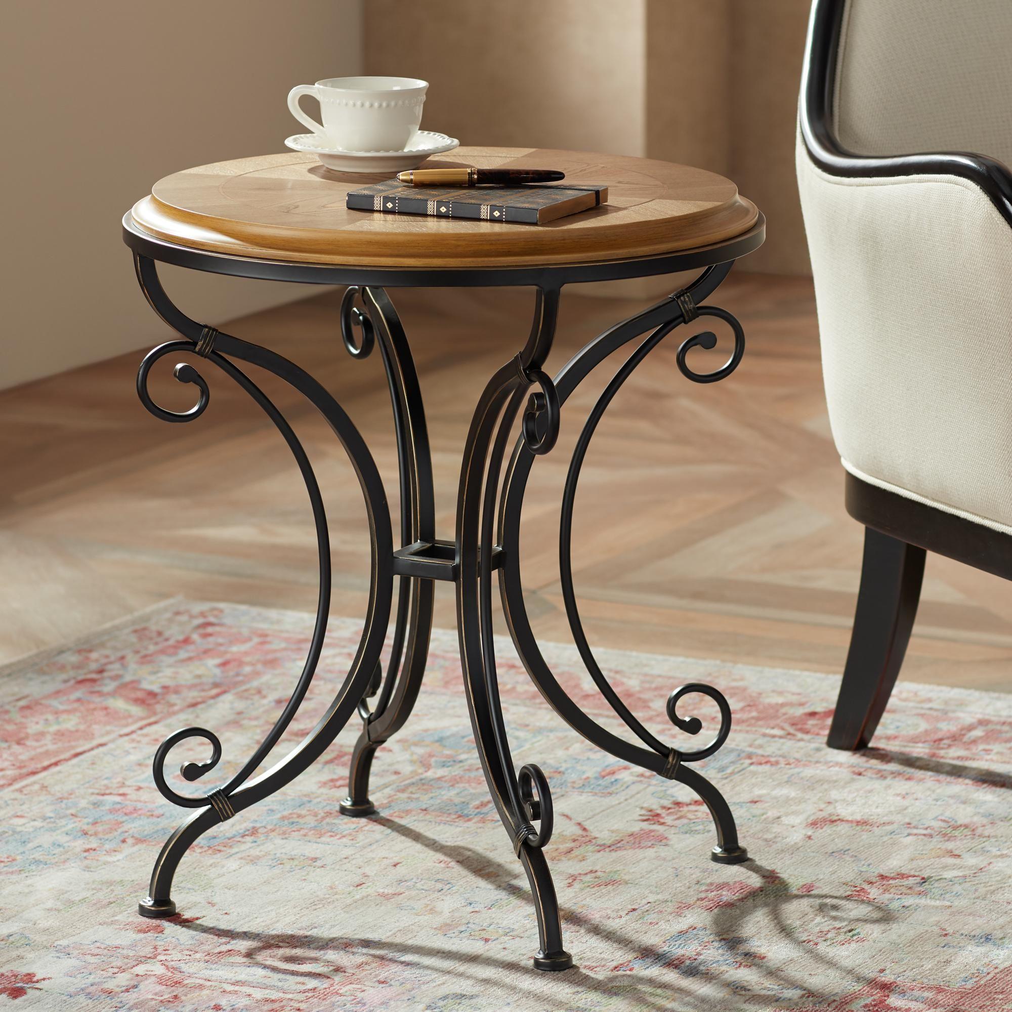 Tables Leda 22 1 4 Wide Gold Brushed Black Round Accent Table Round Accent Table Accent Table Black Accent Table [ 2000 x 2000 Pixel ]