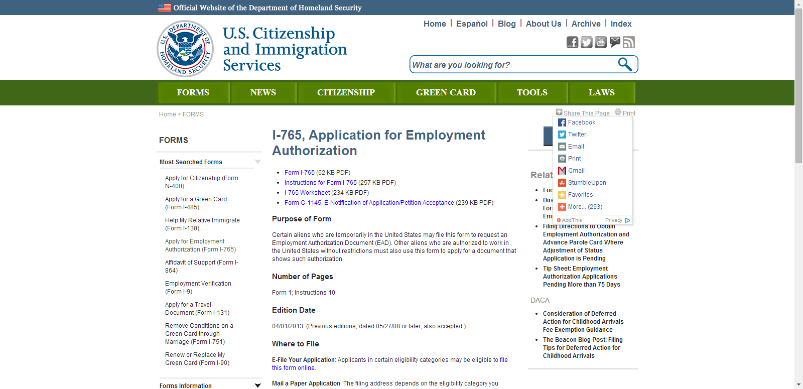 Application For Employment Authorization Uscis Or Form I 765 Or