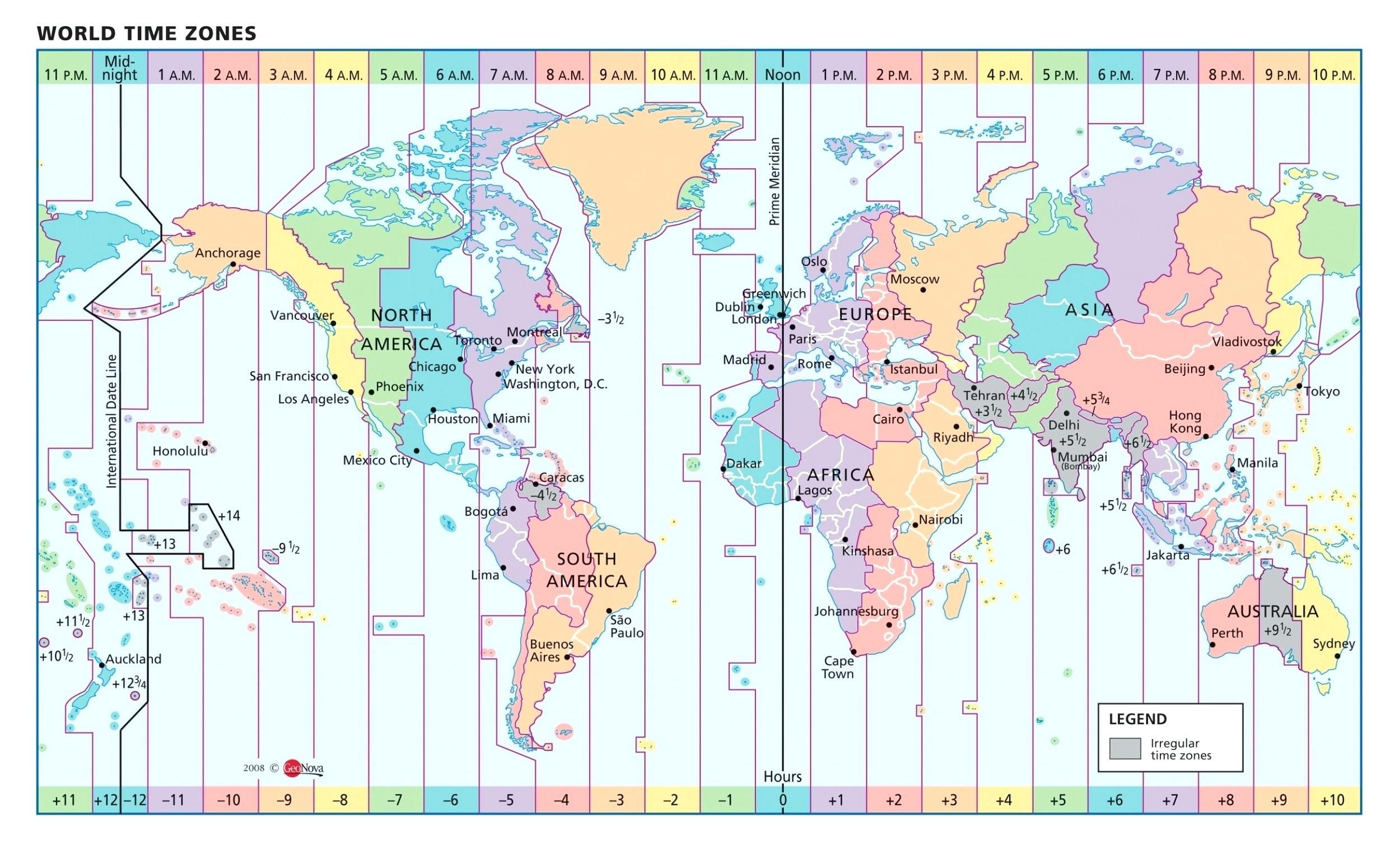 Us Map With Time Zone Lines World Longitude And Clock