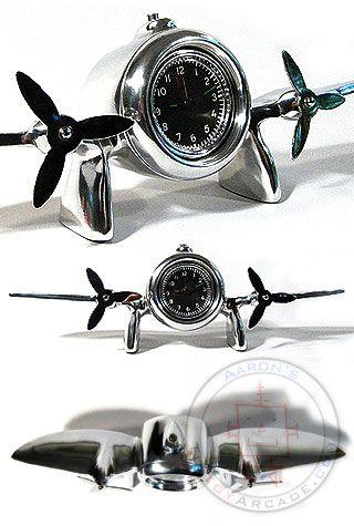 Art Deco Flight Clock Solid Aluminum Decor