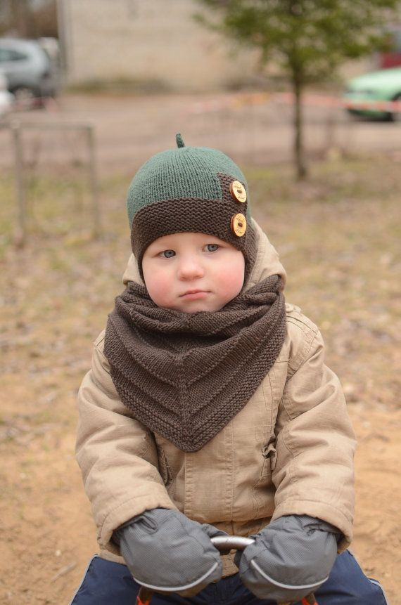 41984a0b3288c Knotted Baby Boy Hat, Top Knot Toddler Hat, Green And Brown Knit Hat ...