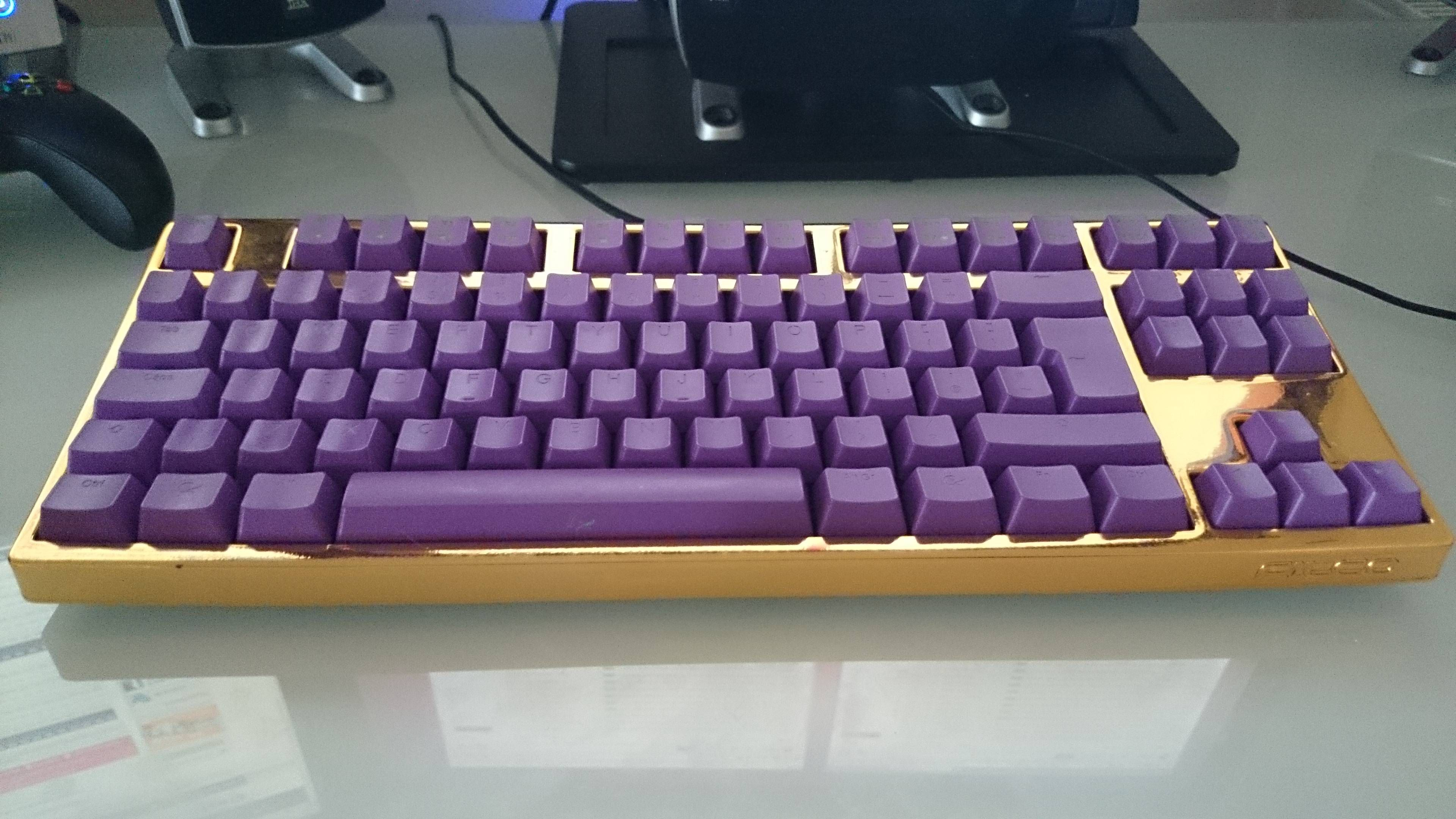 My ostentatious golden Filco with purple Ducky keycaps