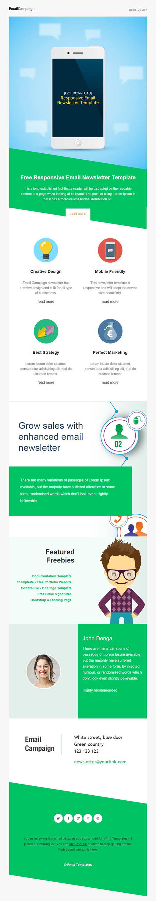 Responsive Email Newsletter Template For Effective Email Marketing - Bootstrap html email templates