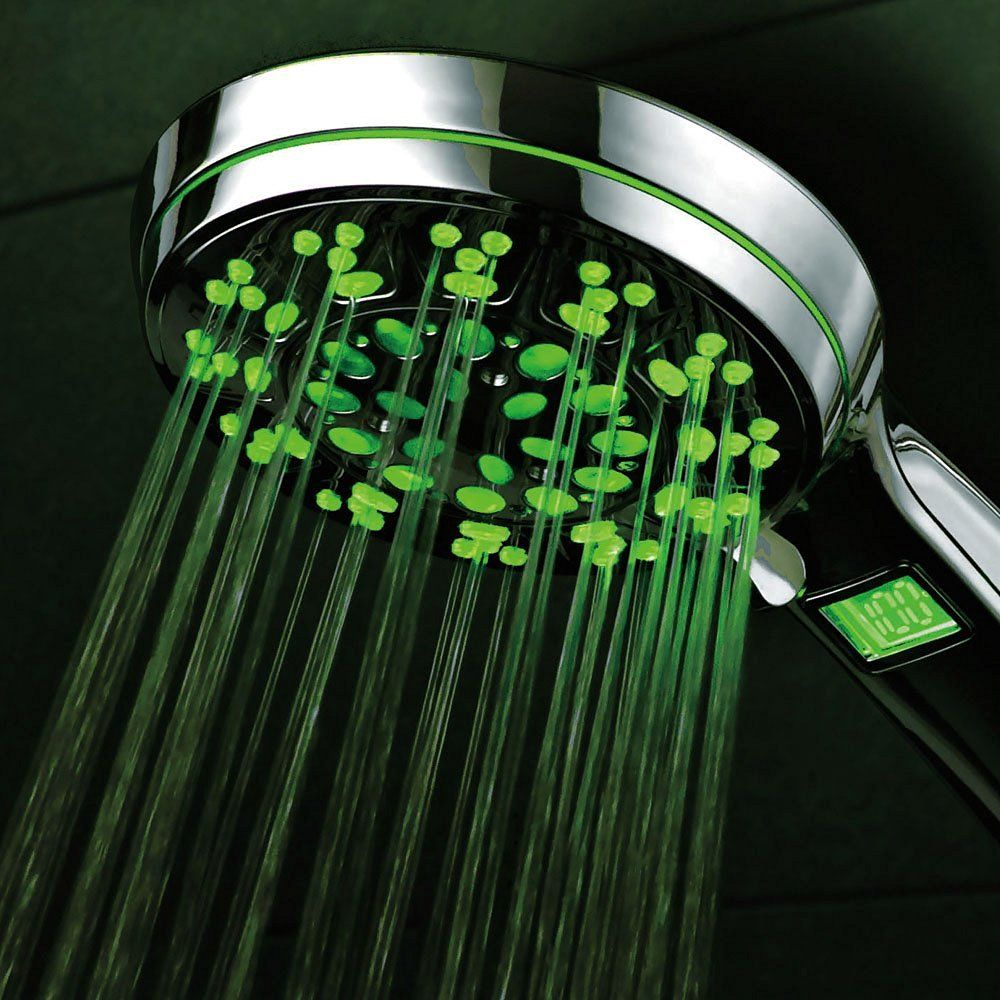 HotelSpa® All Chrome 5 Setting LED/LCD Handheld Shower-Head with Lighted LCD…