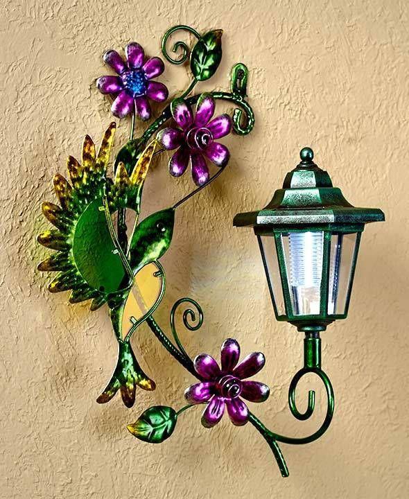 SOLAR LIGHT FENCE HUMMINGBIRD WALL ART INDOOR OUTDOOR GARDEN PATIO ...