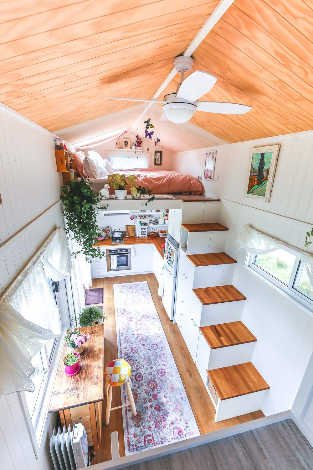Woman S Dream Tiny House Even Has A Walk In Wardrobe Living Big In A Tiny House Tiny House Loft Tiny House Design Tiny House Decor