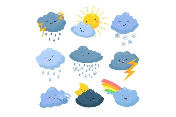 Cartoon Weather Clouds Rain Snow Elements Heavenly Cloudy 1224721 Illustrations Design Bundles In 2021 Cute Easy Drawings Weather Cloud Cute Doodle Art