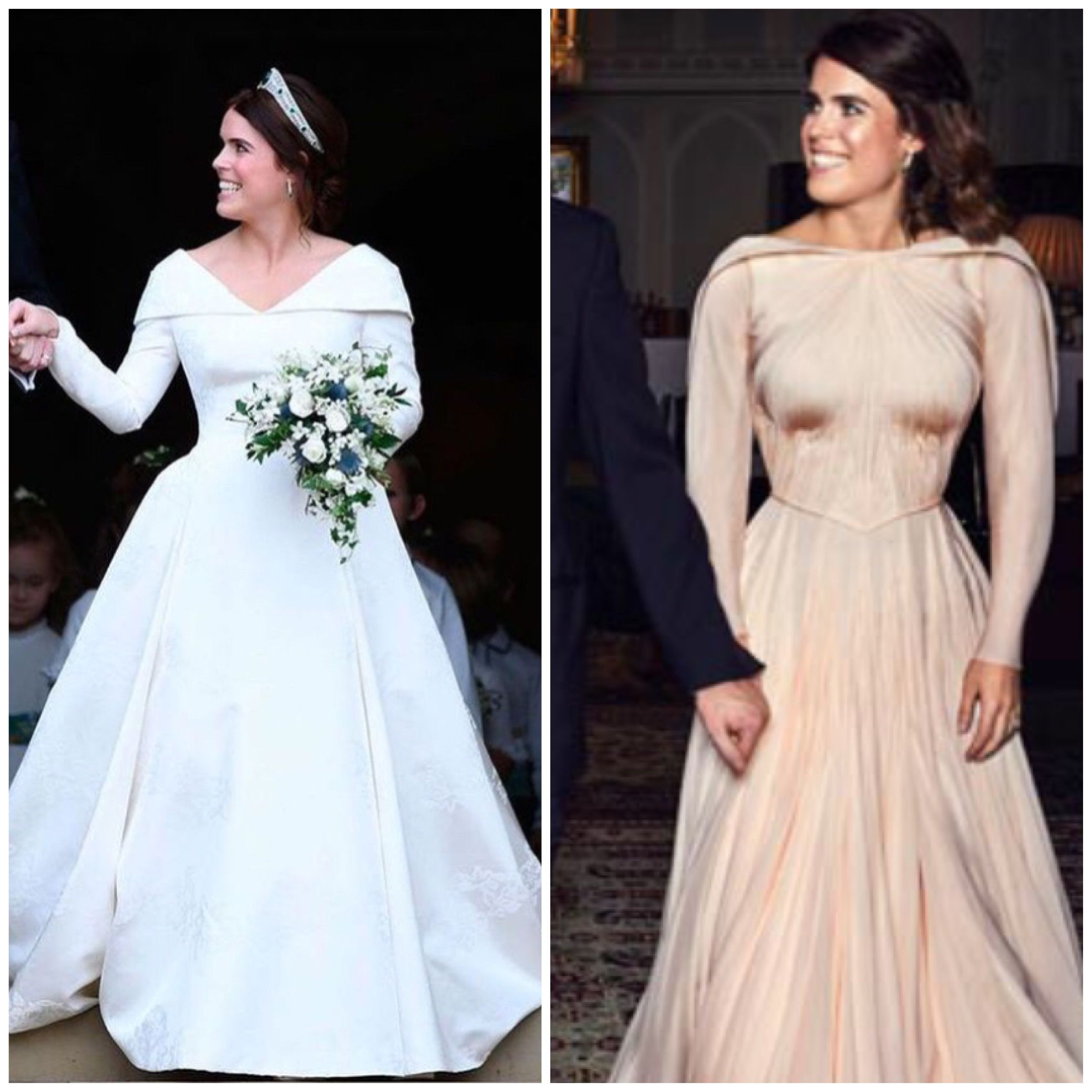 22371010e168 12 10-2018 Princess Eugenie wore a blush Zac Posen gown for her evening