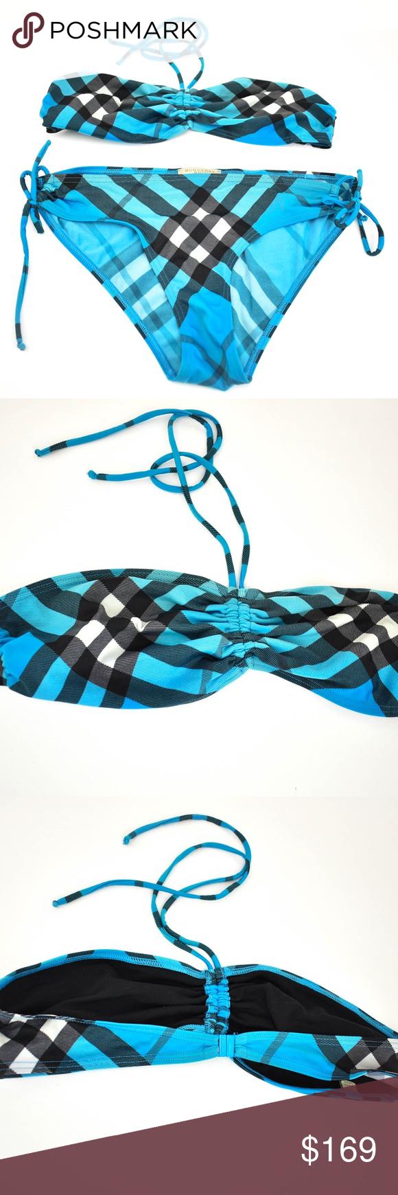 "BURBERRY Brit Blue ""Nova Check"" Bikini Sz XL Bikinis"