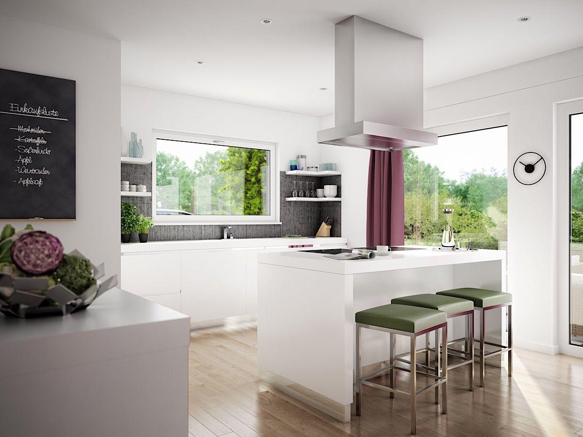 Offene Küche modern weiss & Kücheninsel mit