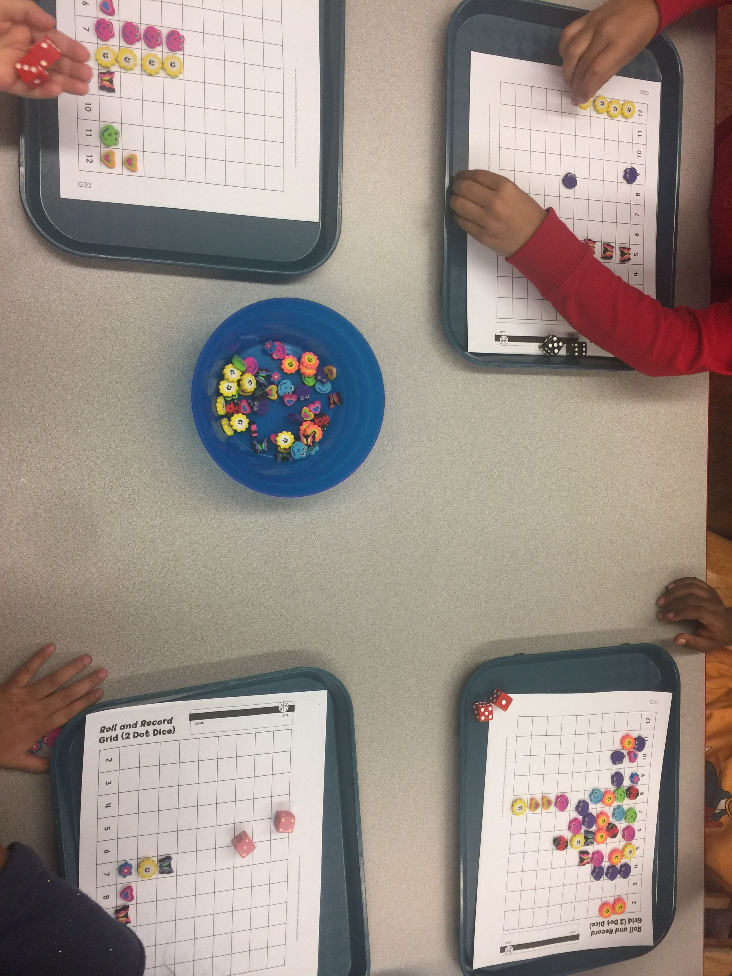 Math Graphing Using Dice And Tiny Erasers