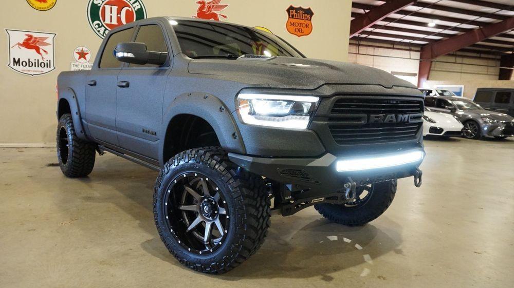 2019 Dodge Ram 1500 Laramie Black 4x4 Dupont Kevlar Lifted Fuel Whls Dodge Trucks Ram Lifted Trucks Diesel Trucks