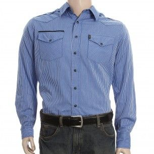Help Dad look sharp in this Cinch Modern Fit Men's Stripe Blue Shirt. Part of our Father's Day gift guide at PFI!