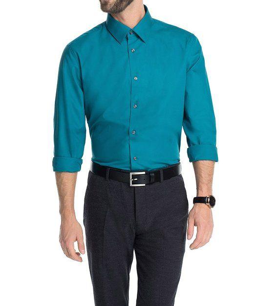 ESPRIT Collection Men's Slim Fit aus hochwertiger Baumwolle 124EO2F001 Slim Fit Classic Long Sleeve Formal Shirt, Blue (Peacock Teal 539), Collar Size: 14.5 (Manufacturer size: 37-38)