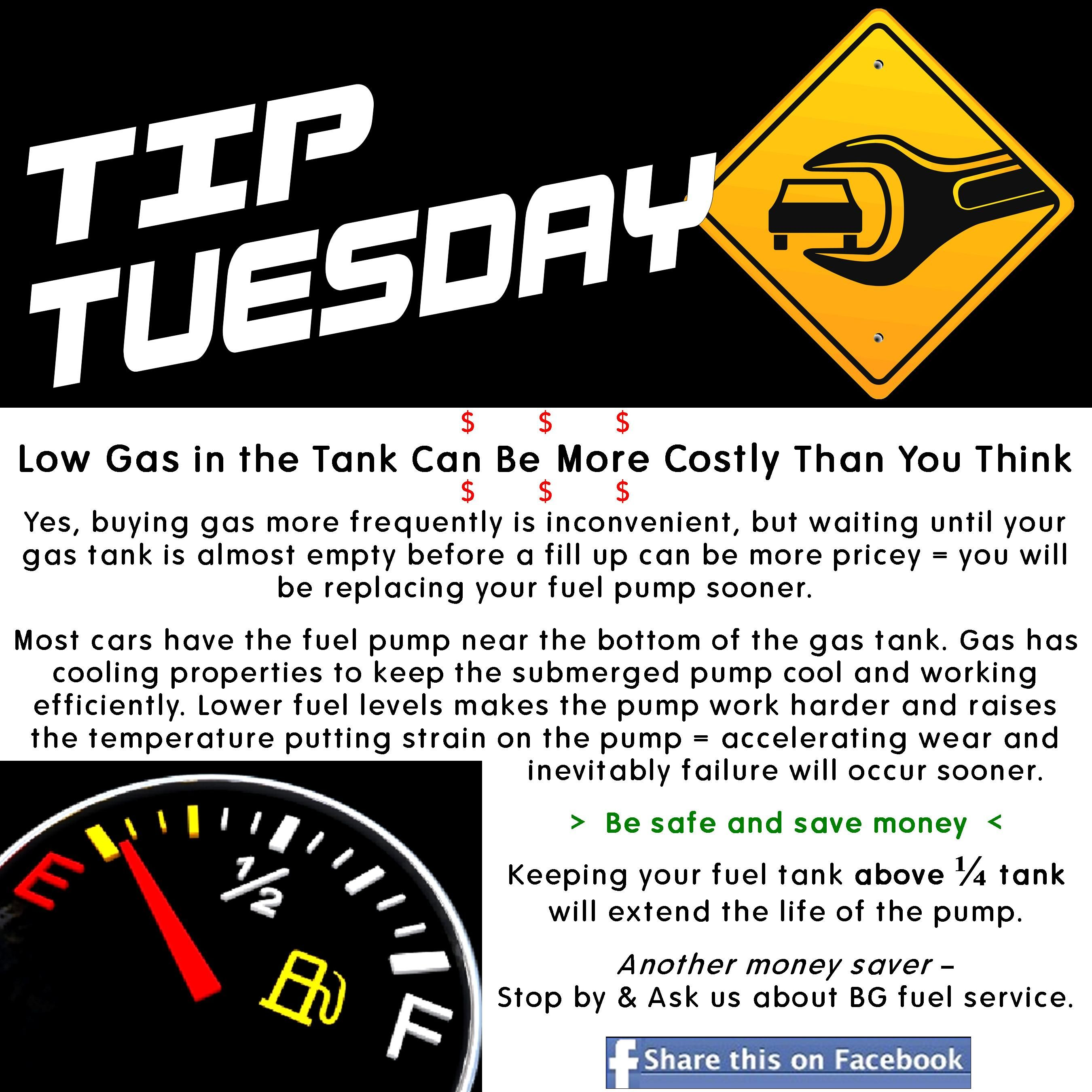 Car Care Tip: Don't Let The Gas In Your Fuel Tank Run Low