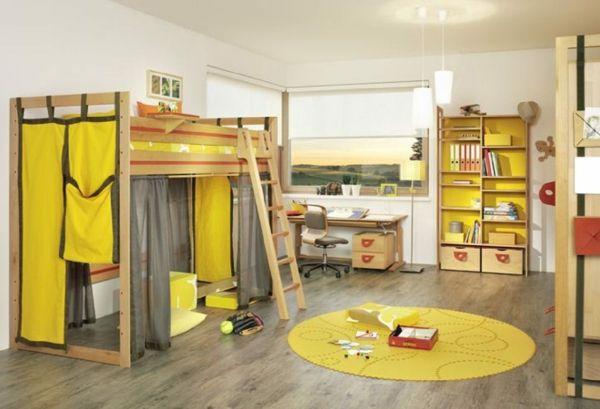 idee kinderzimmer gestaltung gelbe vorhänge teppich | kinderzimmer, Badezimmer